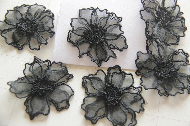 Hochzeit - 2x Black Lace Flower,3D Lace Appliques,Bridal Hair Flower,Brooch Flower,Couture Gowns Embroider Application 6.5cm LXGA28
