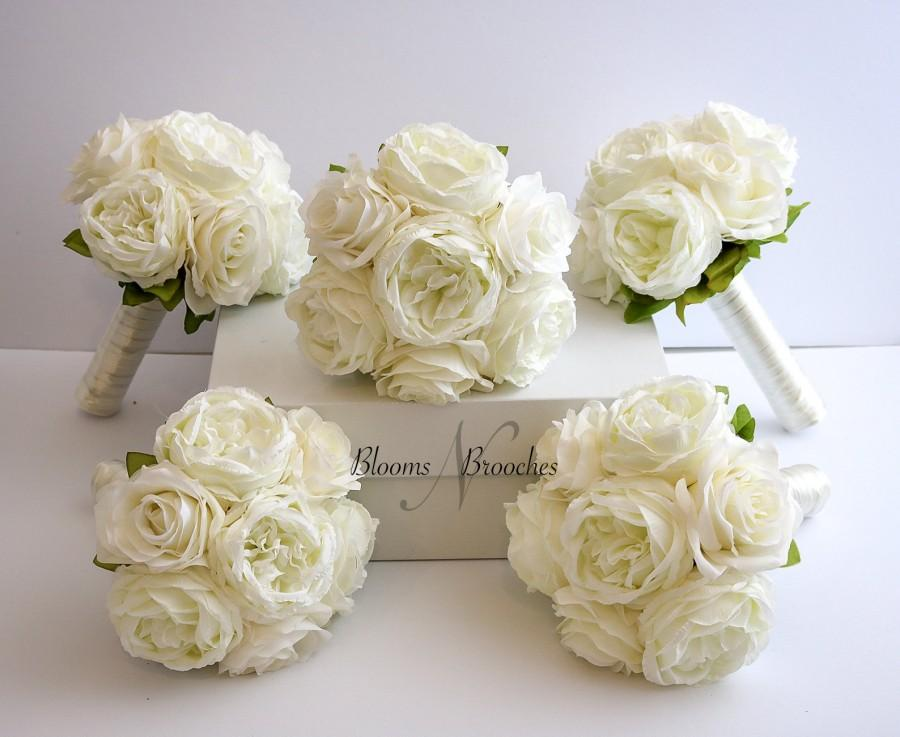Wedding - Ivory Wedding Bouquet, Wedding Flowers, Bridesmaid Bouquets, Corsage, bridal Flower Package