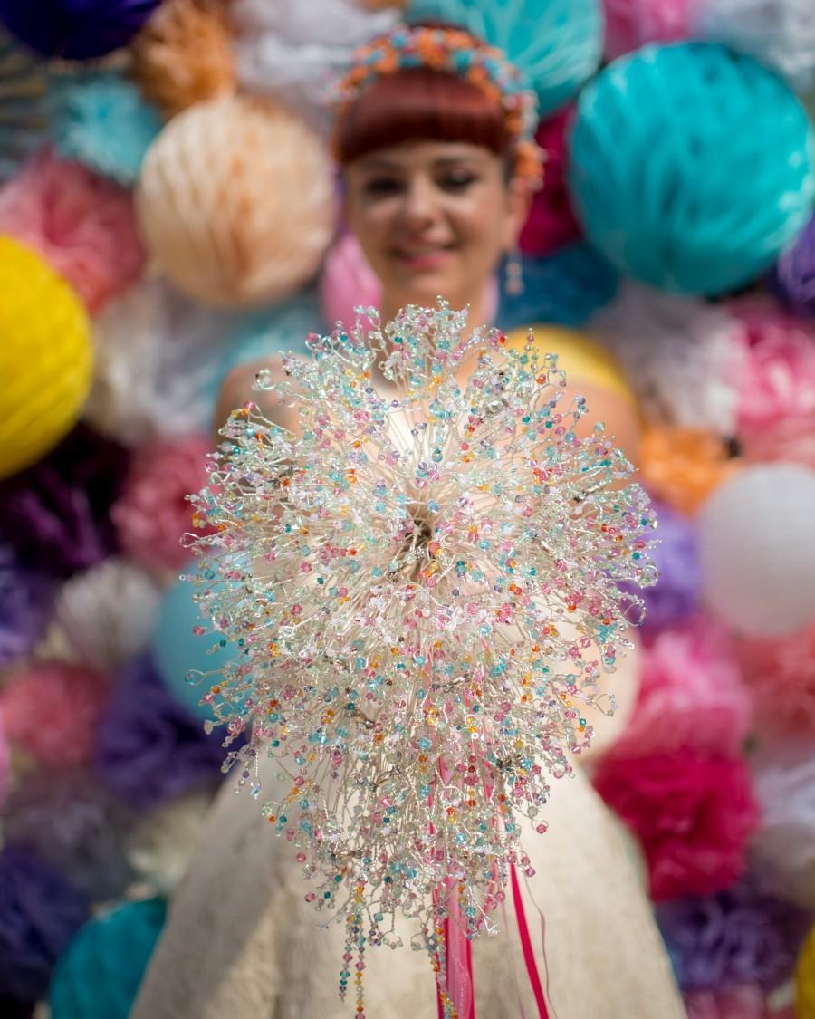 Wedding - Alternative Wedding Bouquet: A Rainbow Sweetie, alternative bespoke bouquet with Swarovski Xilions, Stars & Tiny Sterling Bronze Sculptures