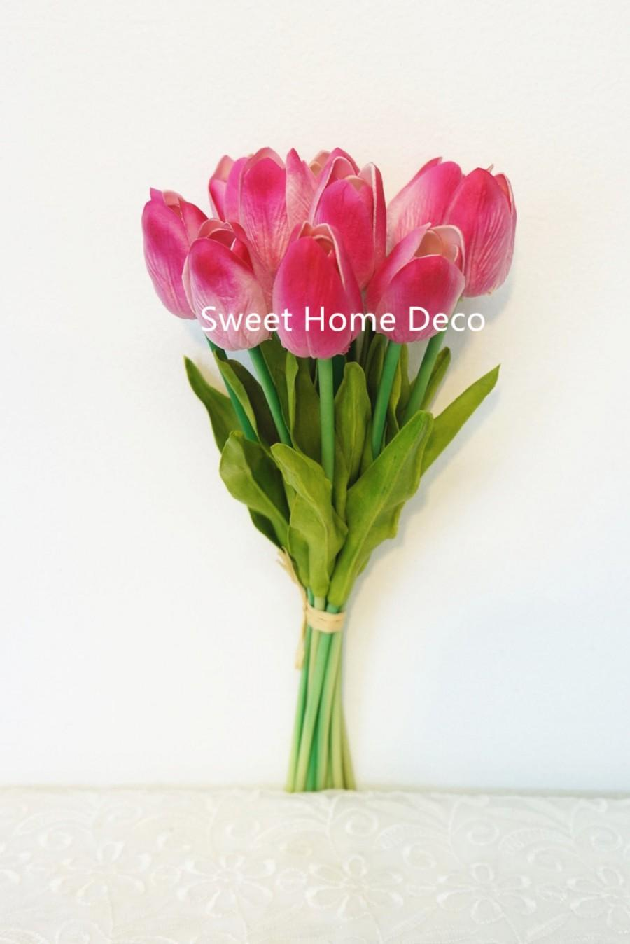 Hochzeit - JennysFlowerShop Latex Real Touch 13'' Artificial Tulip 10 Stems Flower Bouquet for Home/Wedding Hot Pink
