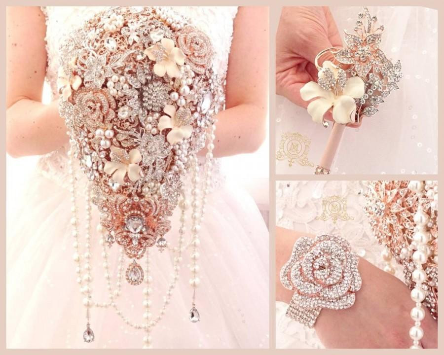 Wedding - Extra long rose gold silver brooch bouquet