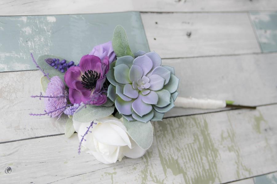 Mariage - Wedding Bouquet, Wedding Flowers, Bridesmaid Bouquet, Succulent Bouquet, Rustic Bouquet, Purple Bouquet, Lavender Bouquet, Boho Bouquet