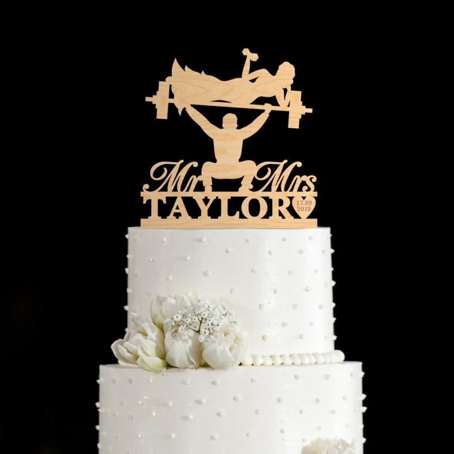 زفاف - Gym funny cake topper,power lifting wedding cake topper,Gym cake topper,Weightlifter cake topper,weight lifting cake topper wedding,241