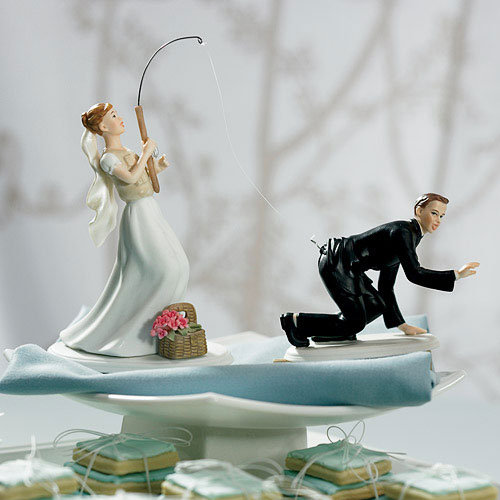 Mariage - Catch Of The Day Fishing Couple Wedding Cake Topper With Custom Hair Colors