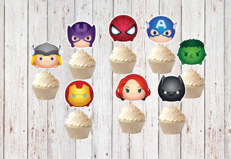 Wedding - 14 Tsum Tsum Avengers Cupcake Toppers - Super Hero Cupcake Toppers - Avengers Birthday -  Party - Wedding - Baby Sower,