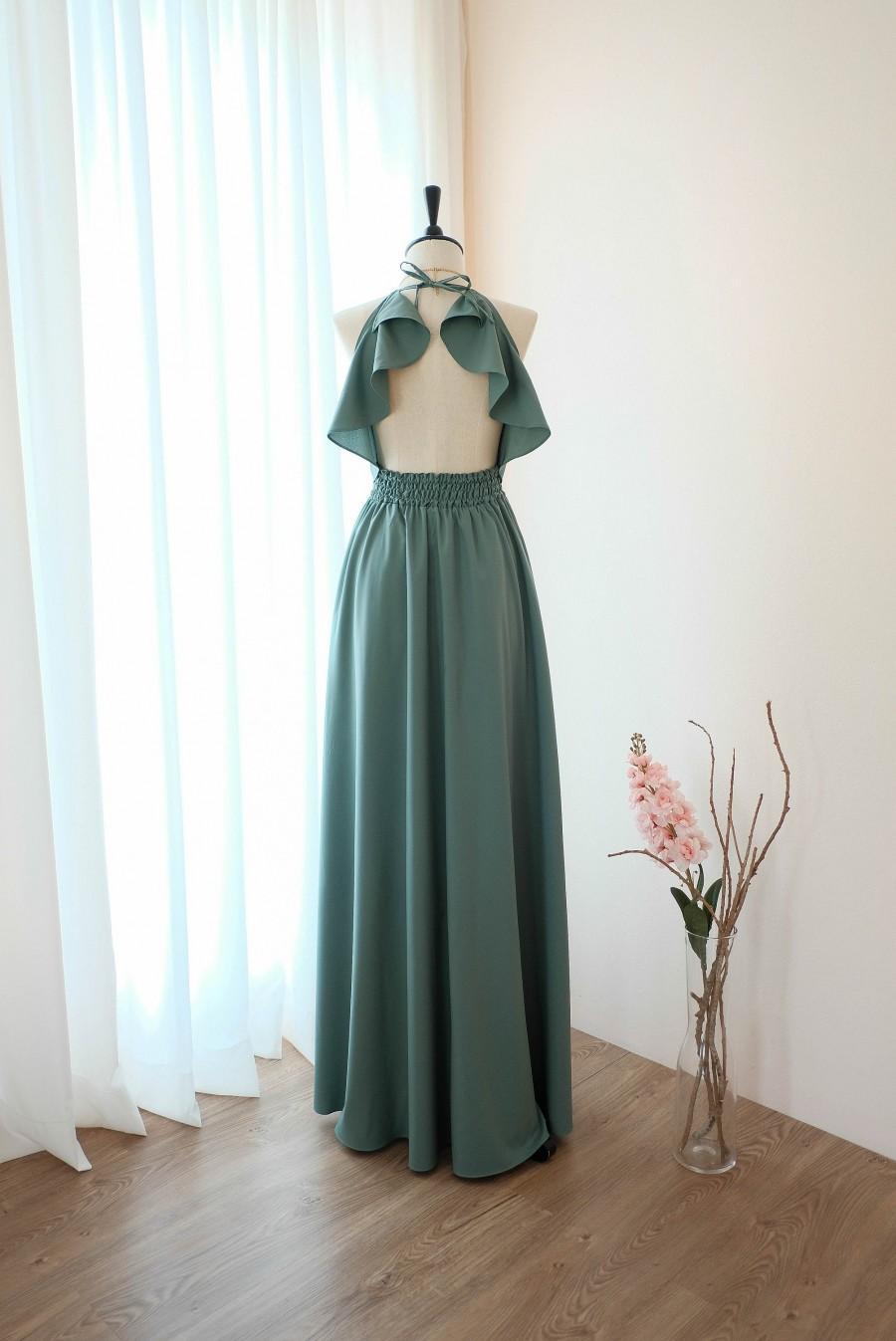 Свадьба - Sage Green bridesmaid dress Long Earthy Sage Green dress Wedding Dress Green cocktail Party dress Backless Halter Dress Evening gown