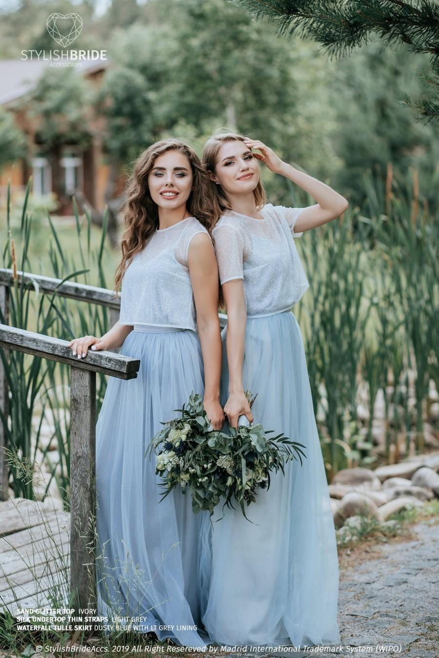 Wedding - Sand Glitter Separates: Dusty Blue Waterfall Tulle Skirt and Ivory Sand Glitter Crop Top with Light Grey Silk Under top -  3 pieces set