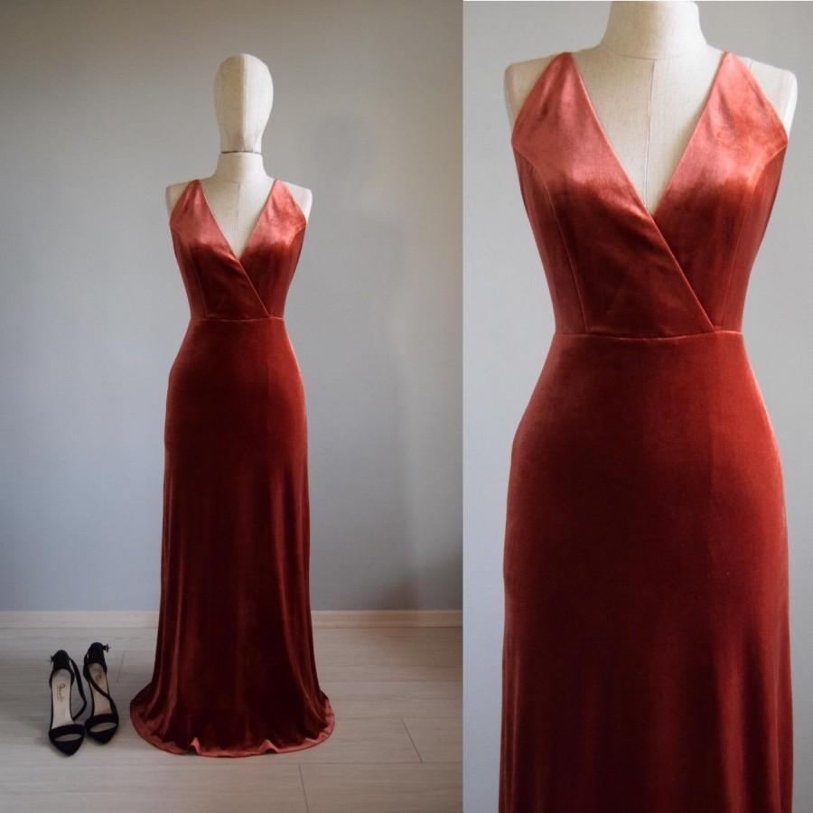 Hochzeit - Made To Measure Velvet Bridesmaid Dress In Copper, Deep V Strap Back Dress Wedding Party Velvet Bridesmaids Dresses