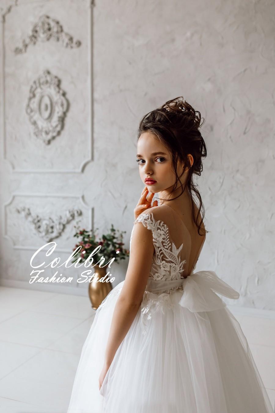 زفاف - Wedding girl dress First communion dress Tulle flower girl dress Flower girl dress lace Ivory flower girl dress Flower dress tutu