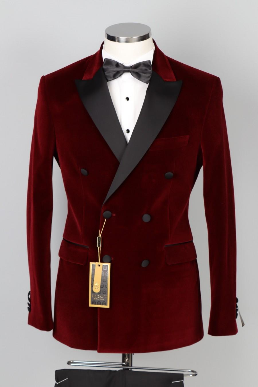 Wedding - Red Velvet Double Breasted Tuxedo