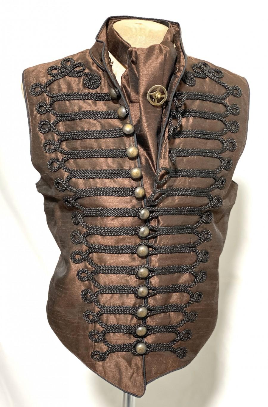 "Wedding - 3pcs Steampunk Brown Waistcoat with black Braiding  with self tie brown silk Cravat ,cog tiepin in size 40""42""44""46"""