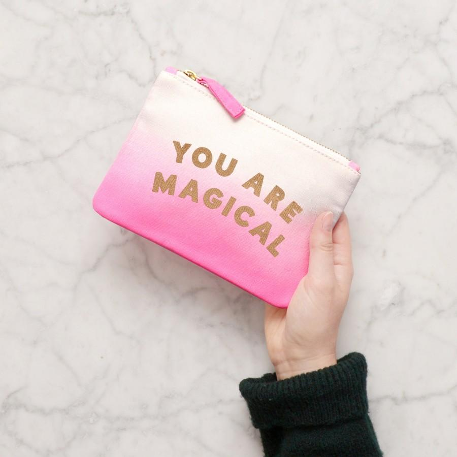 Mariage - You Are Magical Pouch - Magic Pouch - Pink Ombre Zip Pouch - Small Makeup Bag - Small Cosmetics Pouch - Alphabet Bags