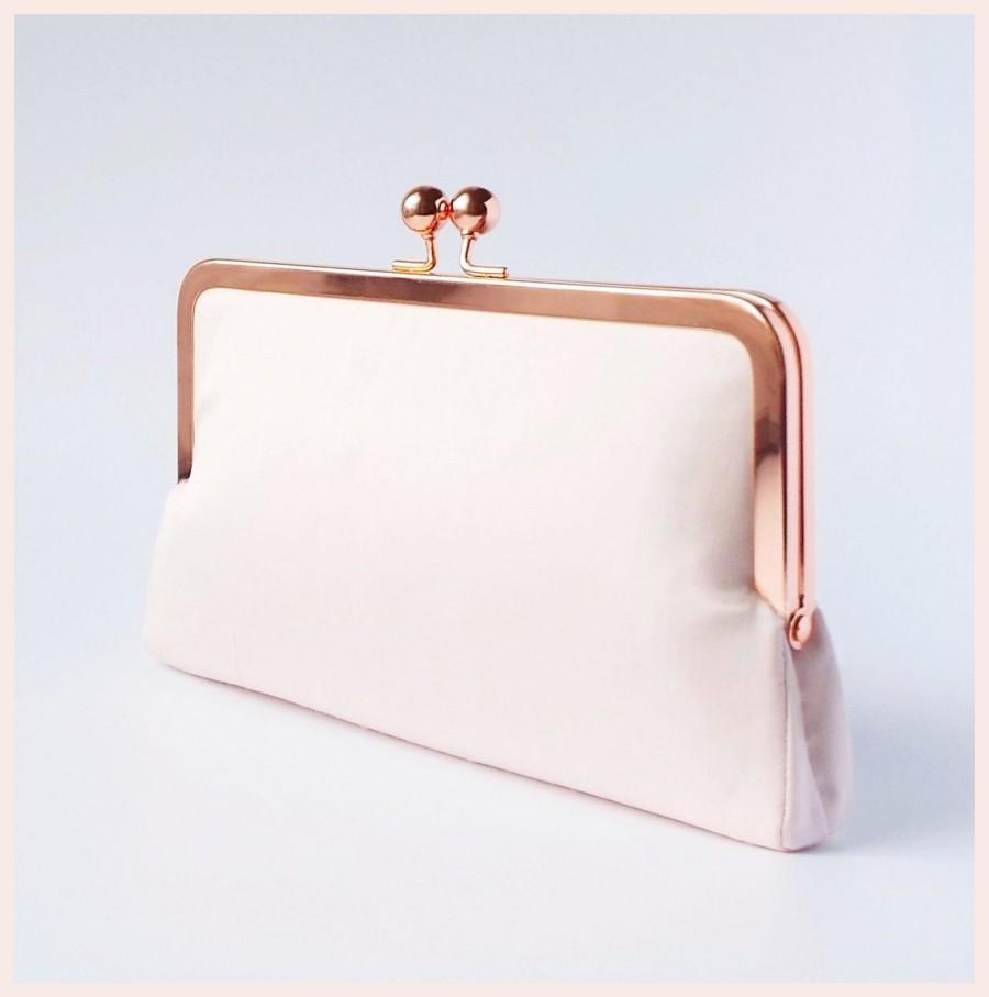 Свадьба - Wedding clutch bag, pink and rose gold bridal clutch purse for summer wedding, pale pink silk handbag, bridesmaid clutch
