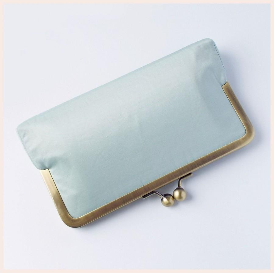 Hochzeit - bridal clutch, pale blue clutch bag, silk clutch purse, duck egg blue bag for wedding