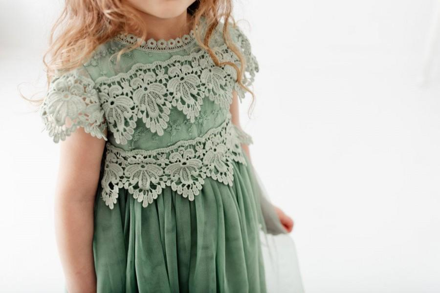 Hochzeit - Boho Sage Lace Flower Girl Dress, Romantic Green Toddler Tulle Wedding Gown, Rustic Mint Crochet, Bohemian, Eucalyptus