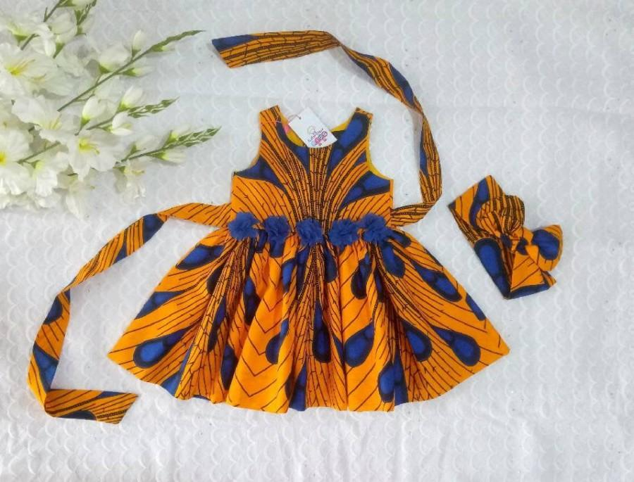 زفاف - Ankara Baby Girls Dress With Head Wrap , African Dress, African girl dress, Ankara dresses, African Print Dress, Toddler dresses, Dresses