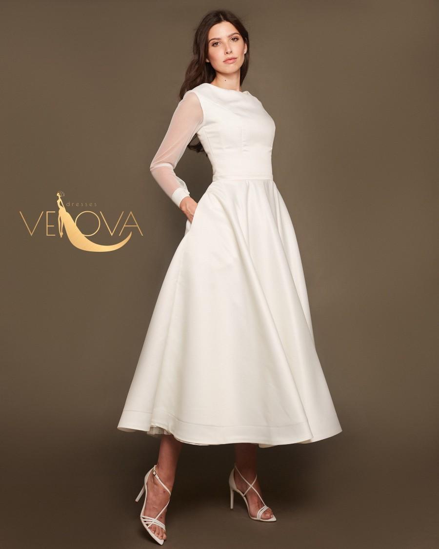 Свадьба - Short Satin Wedding Dress Long Sleeves, Tea Length Minimalist Wedding Dress Modest