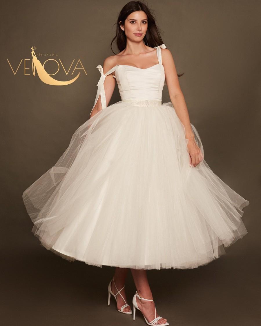 Hochzeit - Tea Length Wedding Dress with Straps, Short Wedding Dress Tulle Ball Gown