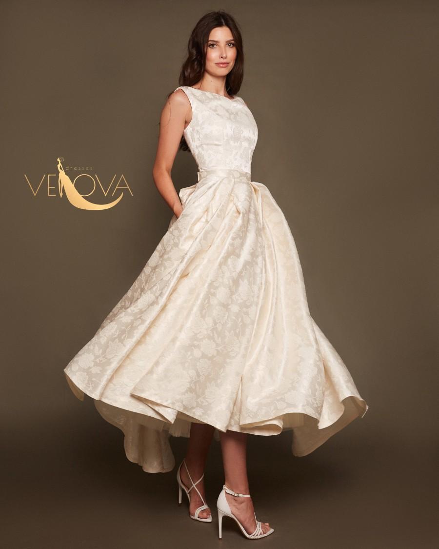 زفاف - Tea length Wedding Dress Short, Modest Wedding Dress Asymmetrical