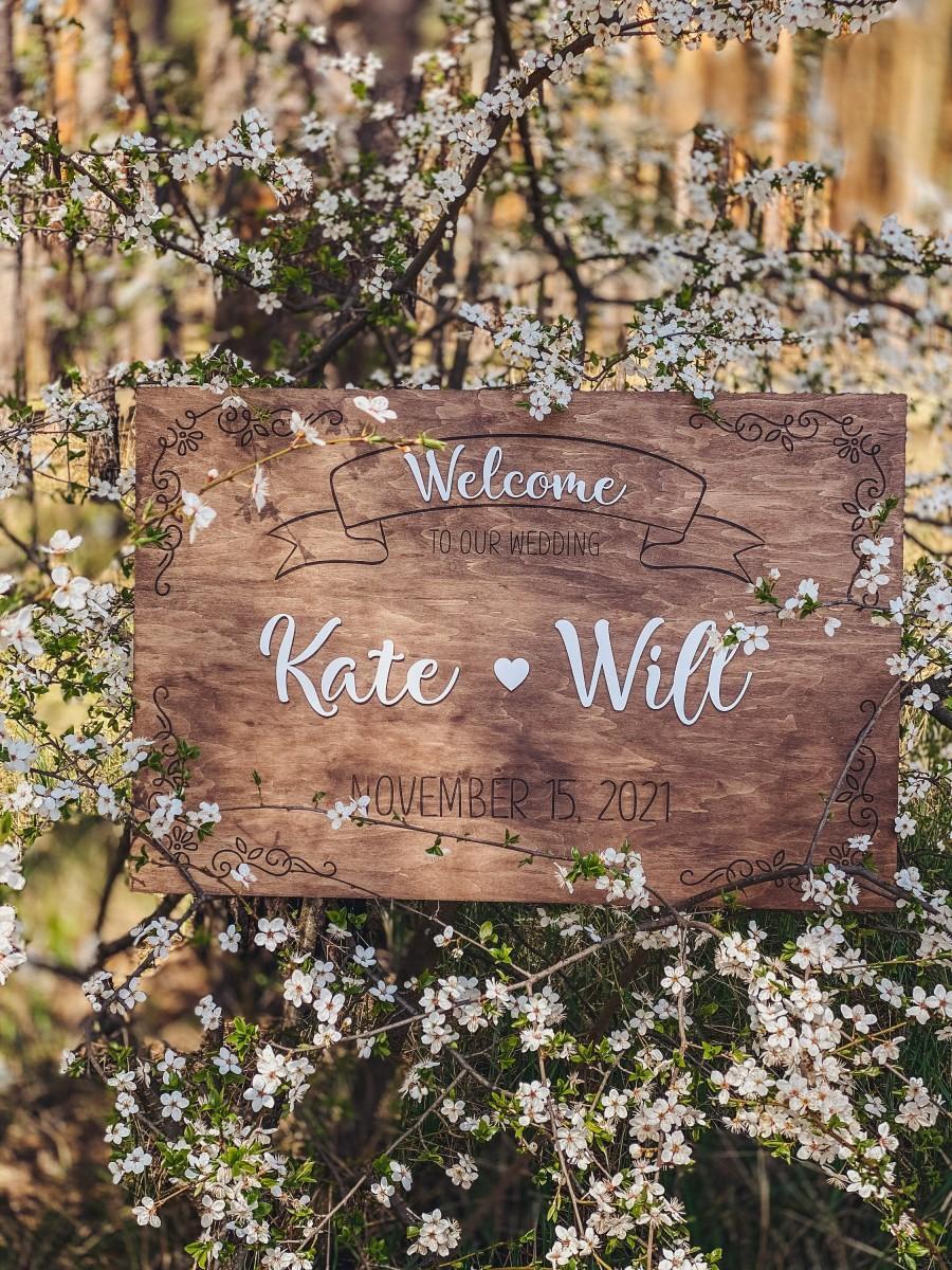 زفاف - Custom Wedding Welcome Sign Wood