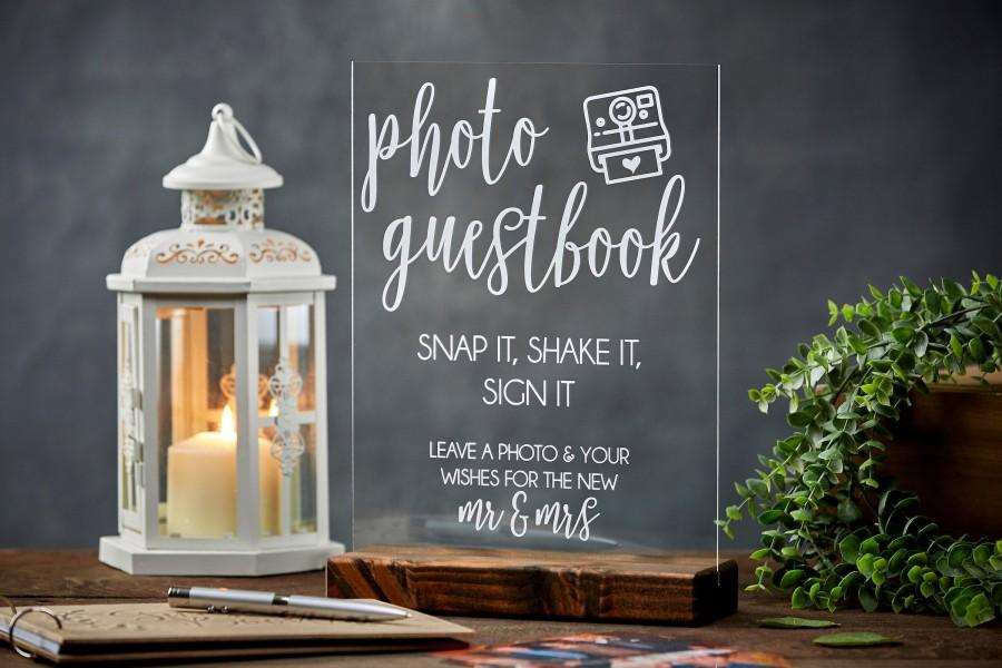 Hochzeit - Photo Guestbook Sign - Snap It, Shake It, Sign It - Acrylic Wedding Sign