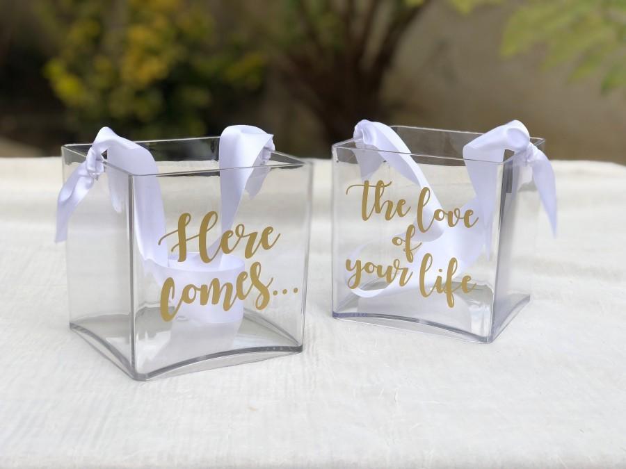 Hochzeit - Personalized Modern Flower Girl Basket Set - Shabby Chic~Fairytale Wedding