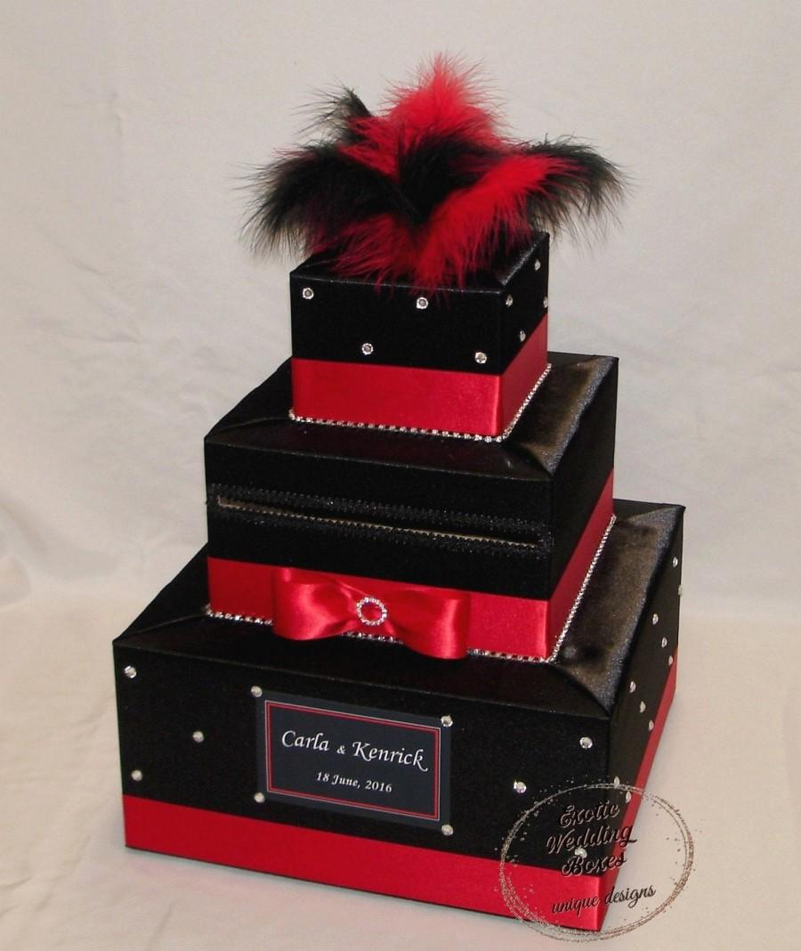Wedding - Black and Red Wedding Card Box-BLACK and RED Feather topper-rhinestone accents