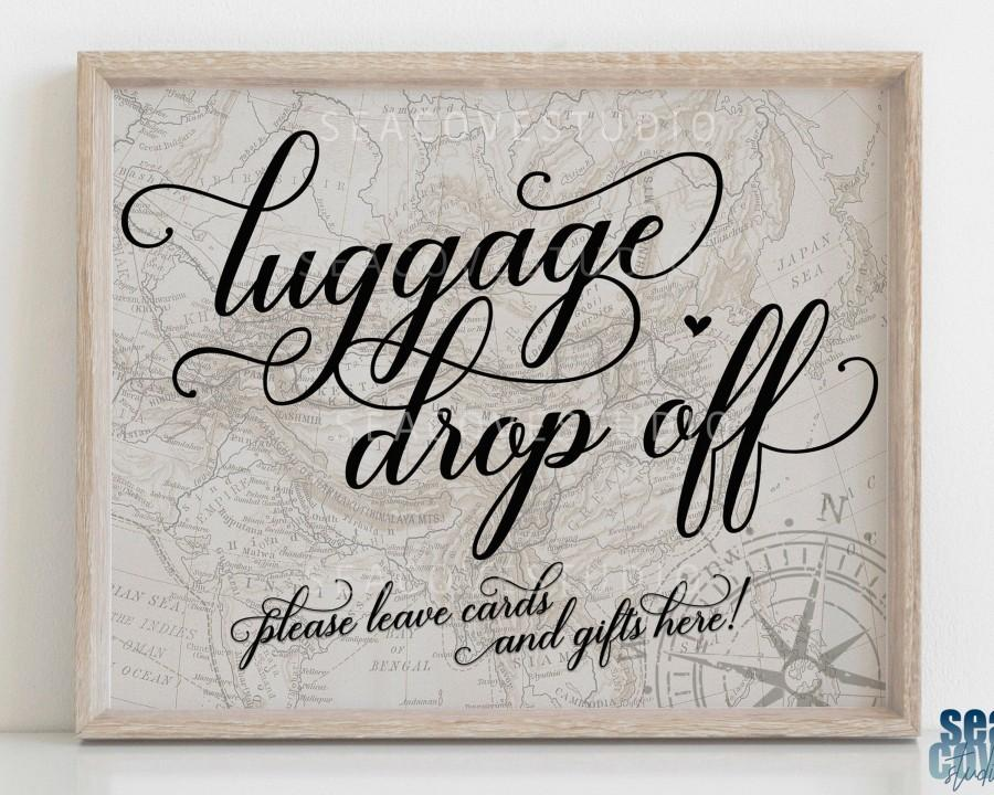 Wedding - Travel Theme Party Sign, Cards and Gifts sign, Travel Theme Wedding, Luggage Drop Off Sign, Travel Theme Gift Table Sign, Instant Download