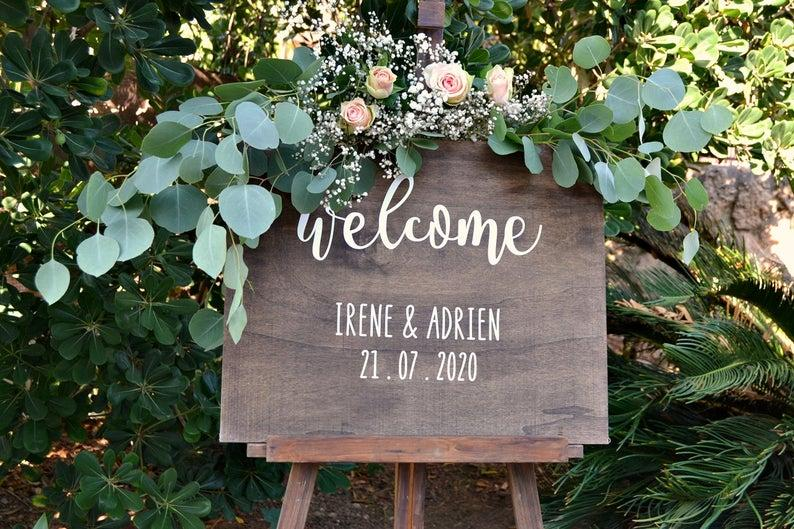Wedding - Welcome Wedding Sign, Wood Wedding Sign, Rustic Wedding Sign, Custom Wedding Sign, Wedding Sign Personalized Vinyl, Lettering Wood Sign.