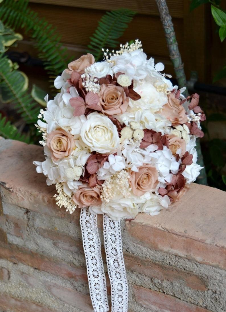Wedding - Preserved Flower Bridal Bouquet White and Garnet, Keepsake bouquet.