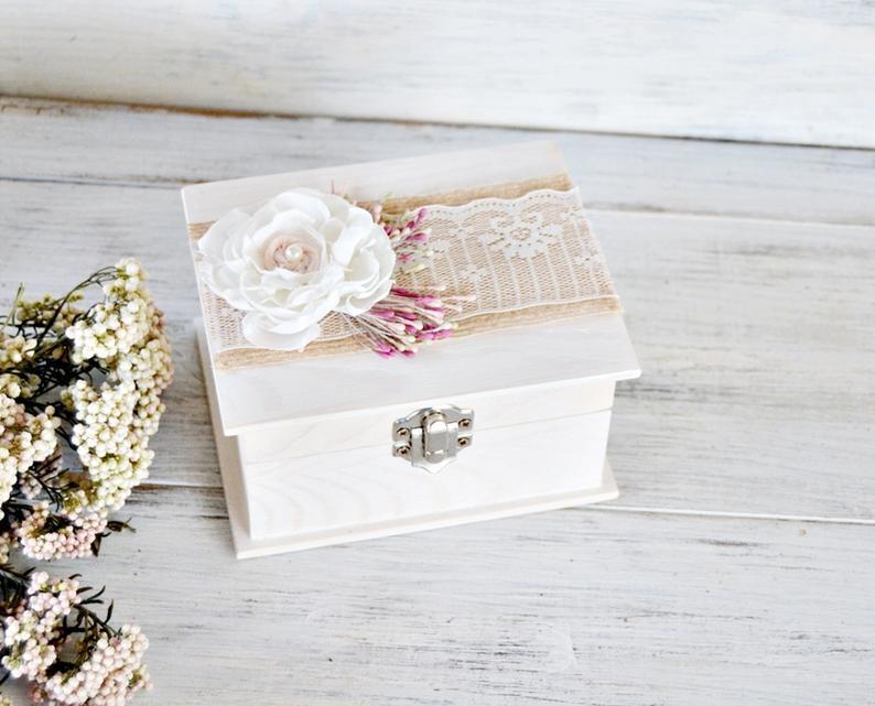 Wedding - Romantic White Ring Bearer Box, Flower Wedding Ring Box, Personalized Rustic Wedding Ring Holder, Proposal Ring Box, Wood Ring Bearer Box.