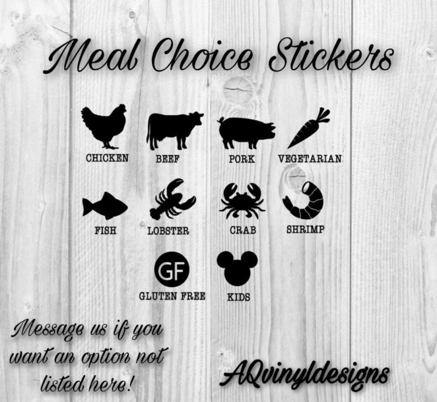 Hochzeit - Meal Choice Stickers (Set of 10), Wedding Meal Stickers, Place Card Meal Stickers, Wedding Meal Indicator, Food Choice Sticker, Wedding Meal