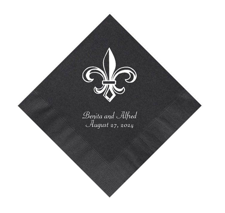 Hochzeit - Fleur de Lis Wedding Napkins Personalized Set of 100 French Theme Louisiana Cajun Mardi Gras Party