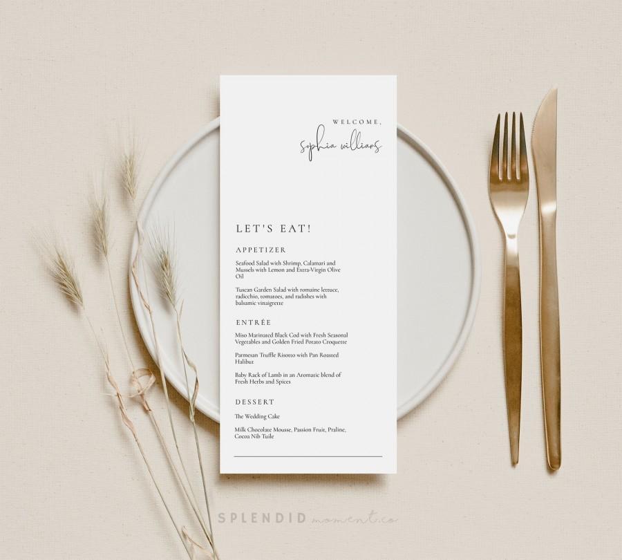 Свадьба - Let's Eat Modern Wedding Guest Name Menu Card Template, Editable Elegant Wedding Menu, Welcome to our Wedding Menu Template - Olivia