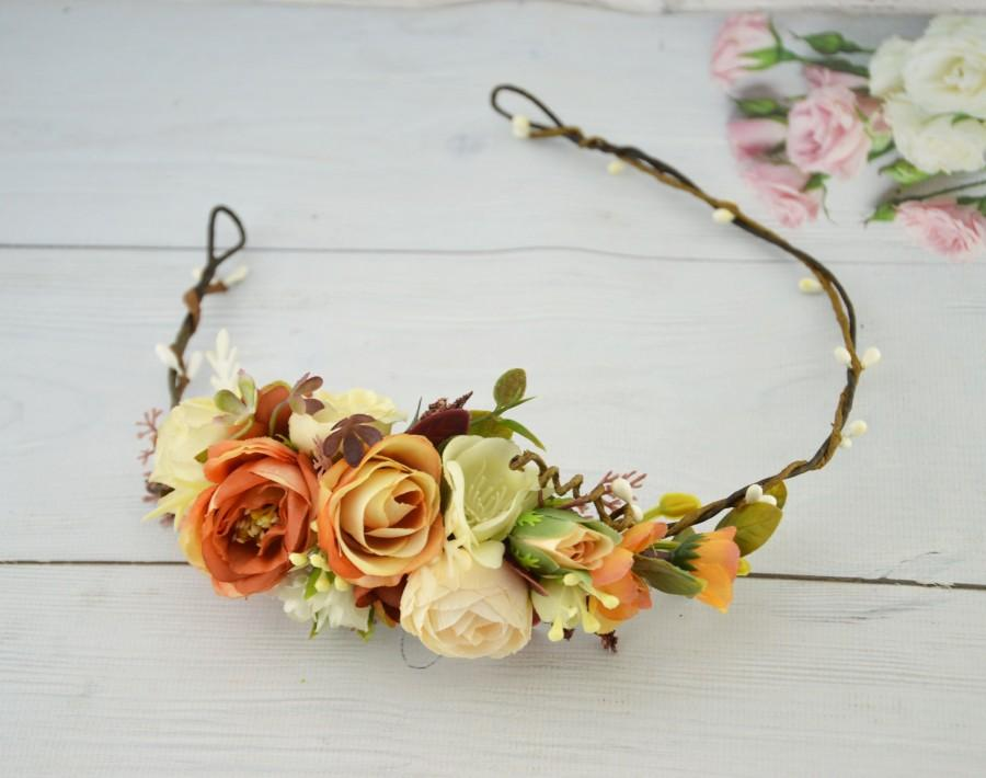 Mariage - Rust floral crown Orange Flower Headband Fall hair piece for bride Floral headband Wedding flowers hair bridal Flower halo for girl Rustic