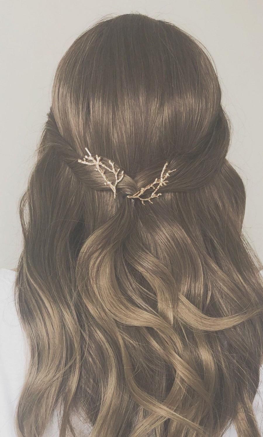 Mariage - Twigs hair pins, Wedding hair pins, branch bobby pins, Flower bobby pins, Vintage hair accessory, Boho style, Tree Branch