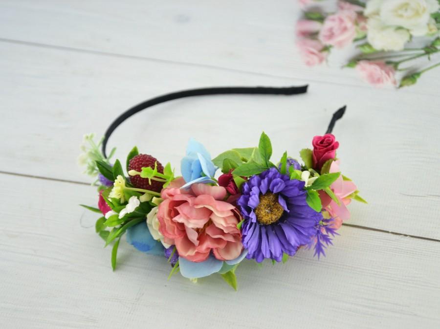 Mariage - Floral headband Purple Pink Flower hair piece Colotful head piece Summer headband for girl Floral hair piece for women Flower headband Boho