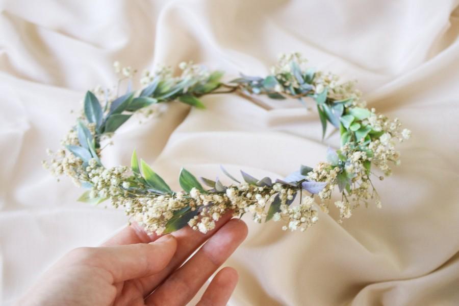 Wedding - Boho Flower Wreath, Baby's Breath Flower Crown, Woodland Flower Crown, Rustic Forest Herbs, Boxwood Wedding Crown, Bride Crown, Green Crown