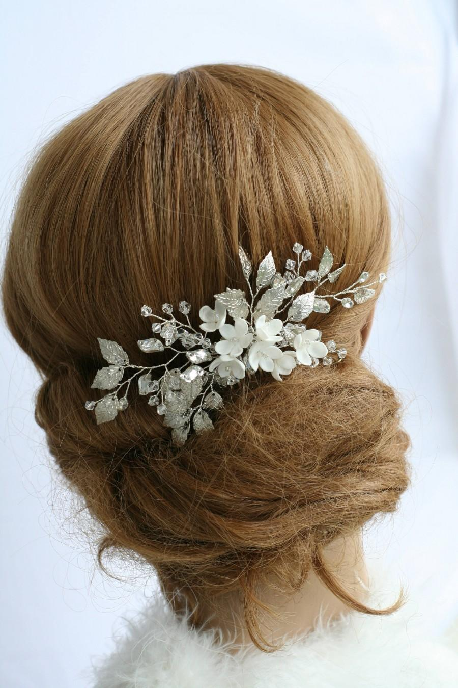 Wedding - Bridal hair comb Silver Bridal Hair comb Wedding hair comb Flower bridal comb Bridal hair accessories Silver Wedding accessories Silver