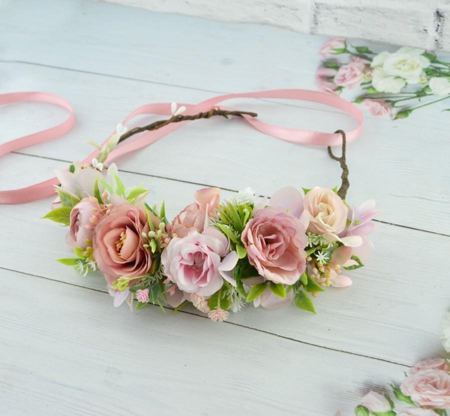 Mariage - Flower crown blush pink Hair piece with flower Headband for bride Wedding hair wreath Floral halo for women Floral crown wedding Tropical