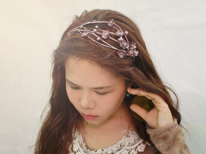 Hochzeit - sakura silver wax headband,cherry blossom headband, made by polymner clay sweet girl