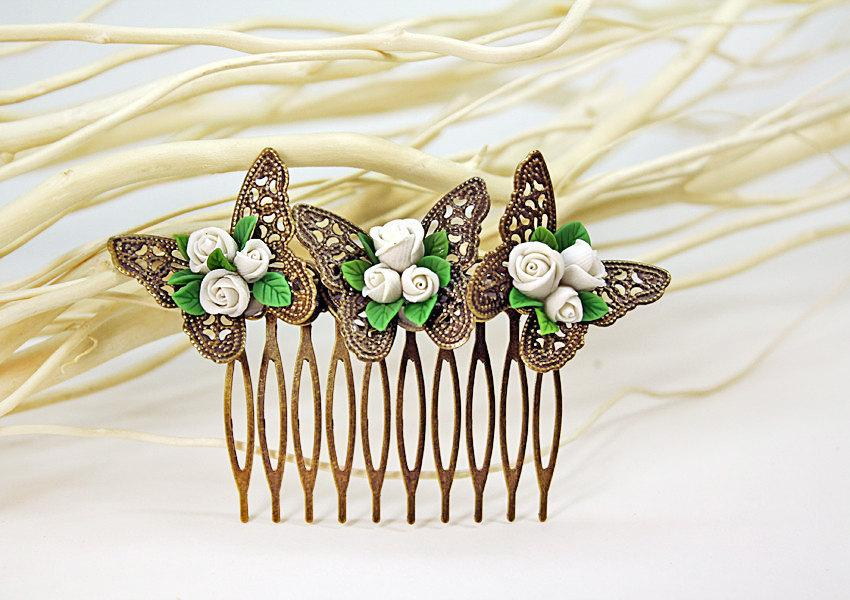 Hochzeit - white rose Hair Comb,butterfly, bridesmaid, hair clip, hair accessories, vintage style , polymer clay flower,gift for her
