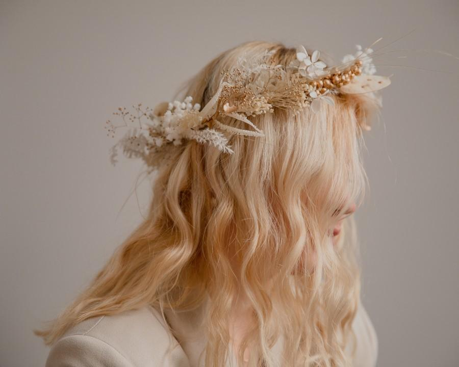 Hochzeit - Golden Berries and Preserved Lunaria Crown/ Pampas Grass Dried Grasses Crown / Dried Flower Crown / Boho Bridal Crown