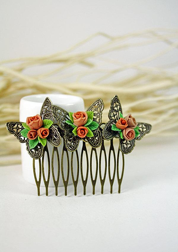 Hochzeit - beige rose Hair Comb,butterfly, bridesmaid, hair clip, hair accessories