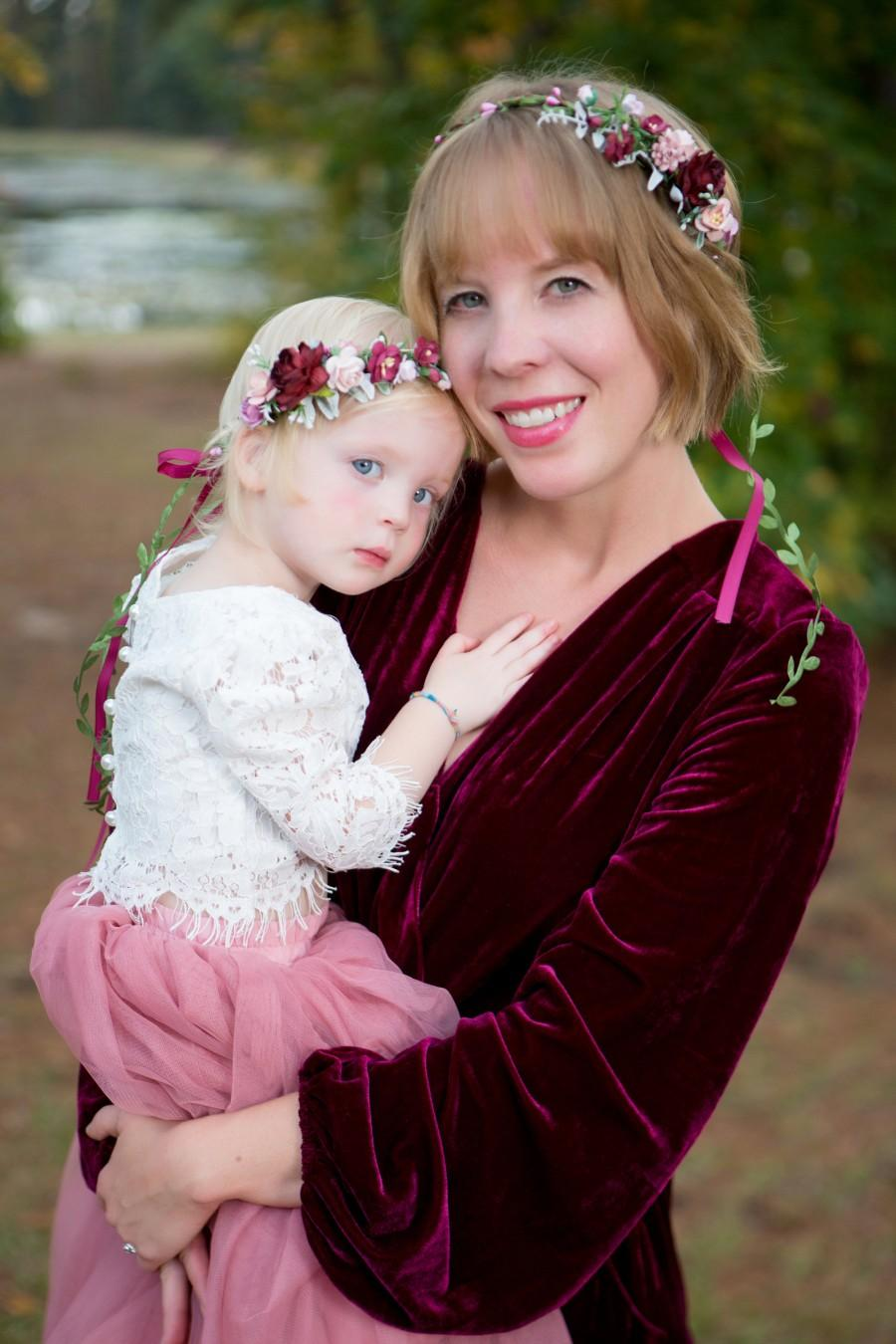 Hochzeit - Mommy and me flower crown, Burgundy flower crown, wedding flower crown, bridal flower headpiece, child floral crown, adult flower crown