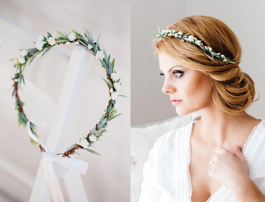 Hochzeit - Flower Crown Blush Roses, Wedding Hair wreath,Bridal hair accessories,Fairy Crown,Floral hair garland,Hair band,Headband Bride or Bridesmaid