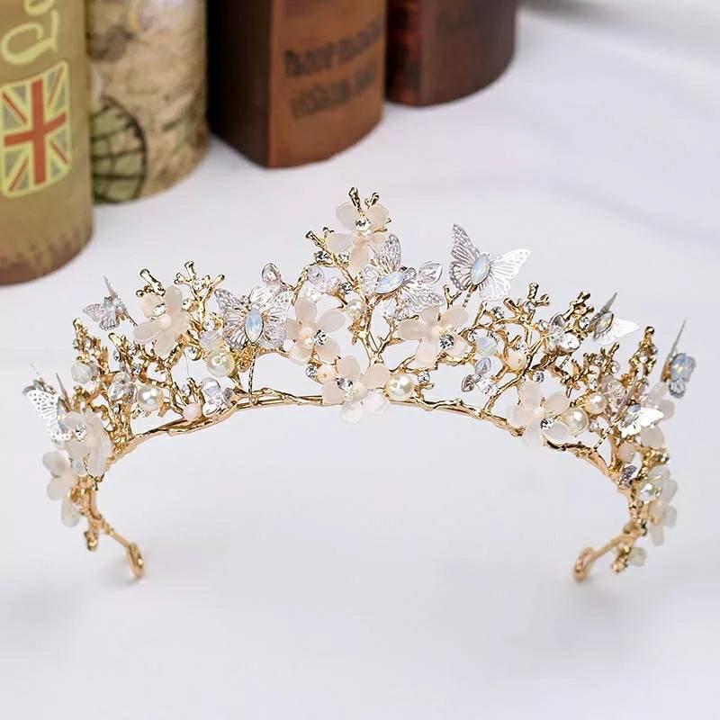 زفاف - Gold Bridal Tiara With Butterflys,Womens headwear,Flowergirl Tiara,Handmade Tiara,Gold Tiara,Brides hair Accessories,Wedding Headpiece