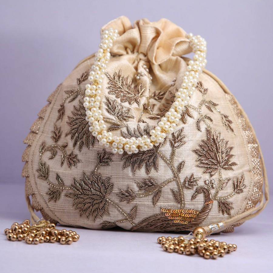 Hochzeit - Indian Tradtional Zardosi Work Beaded Potli Bag For Wedding Party Handbags Golden Embroidered Handbag Women's Purse