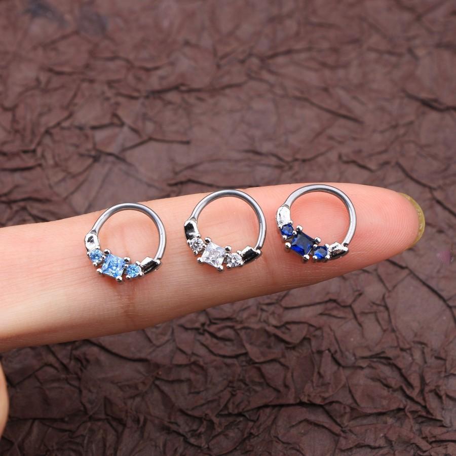 Mariage - 16g  Clear Crystal, Dark Blue, Blue Septum, Hoop Earring /Daith /Rook Hoop Ring/Daith Septum Hoop/ Helix Cartilage