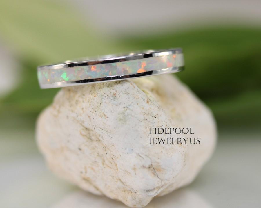 Mariage - Eternity White Opal Band Sterling Silver Ring, White Fire Opal Thumb Ring, Opal Wedding Band, Anniversary Ring, Gift for Her, mother